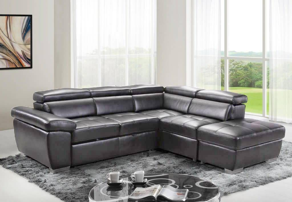 Gl6237 Amando Pull Out Sofa Sectional Graphite Furniture Deco Depot