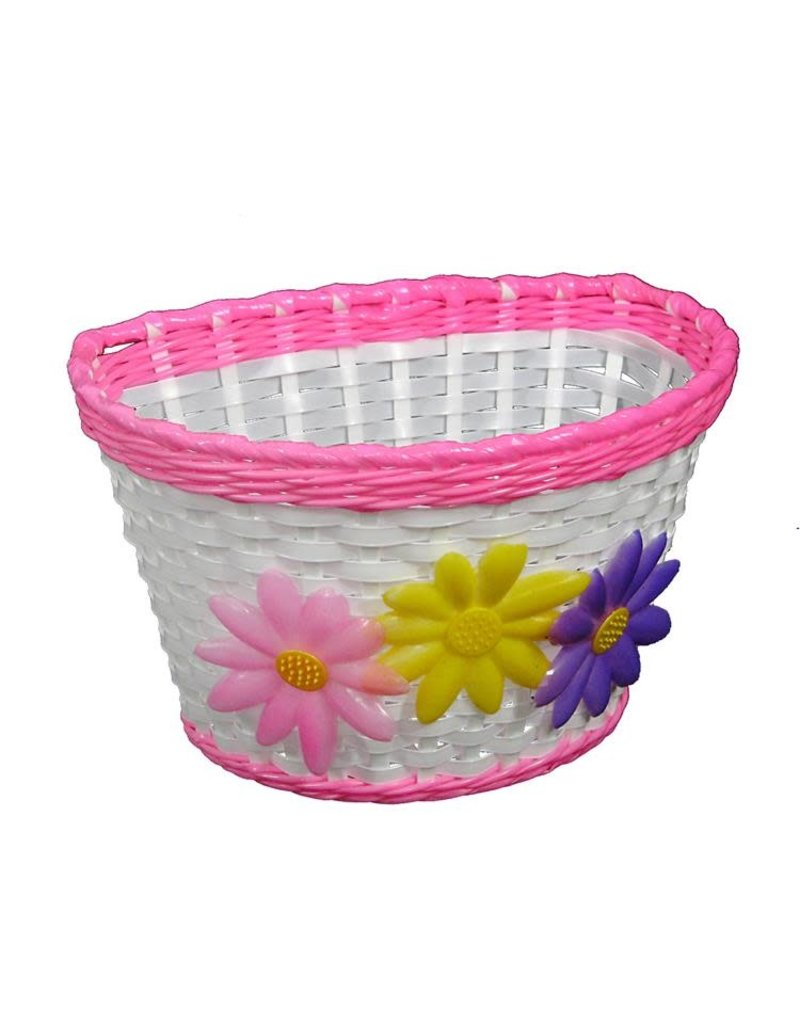 Kids Front Basket - Flower / Pink Trim