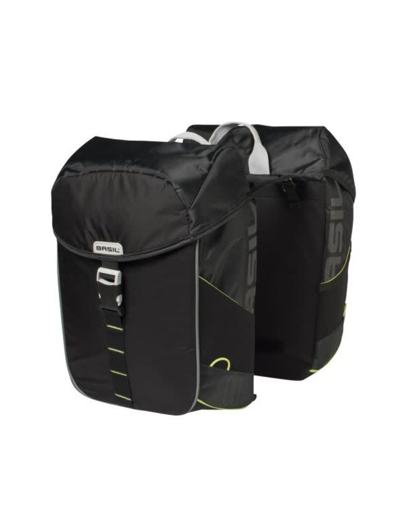 BASIL Miles Double Pannier Bag 34L - Black / Lime