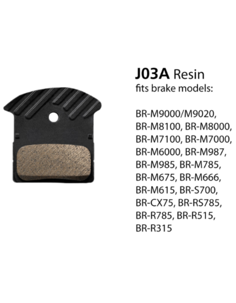 Shimano Resin Brake Pads, With Fin And Spring - J03A