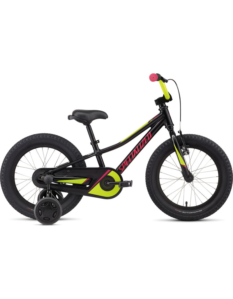 """Specialized Riprock Coaster 16"""" - Black Gold Pearl / Hyper Green / Rainbow Flake Pink"""