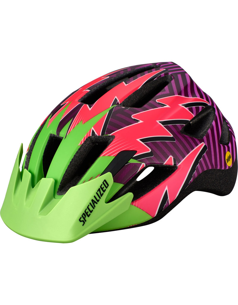 Specialized Shuffle Child Helmet with LED and MIPS - Monster Green / Acid Pink Lightning