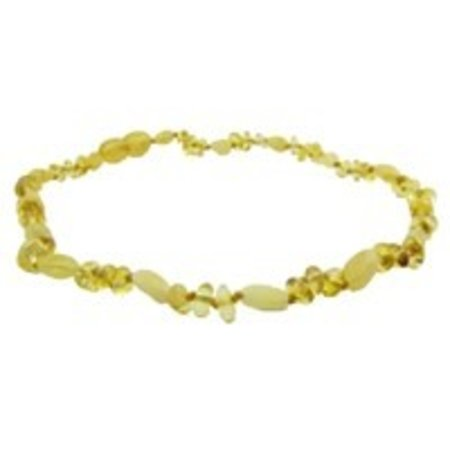 "The Amber Monkey Baltic Amber Teething Necklace (10-11"") Lemon Baroque/Milk Bean Polished Screw"