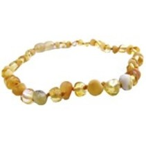 "Baltic Amber Teething Necklace (10-11"") Milk Raw/Lemon Polished Baroque Screw"