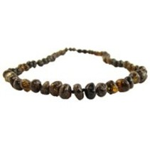 "Olive Baltic Amber Teething Necklace (10-11"")"