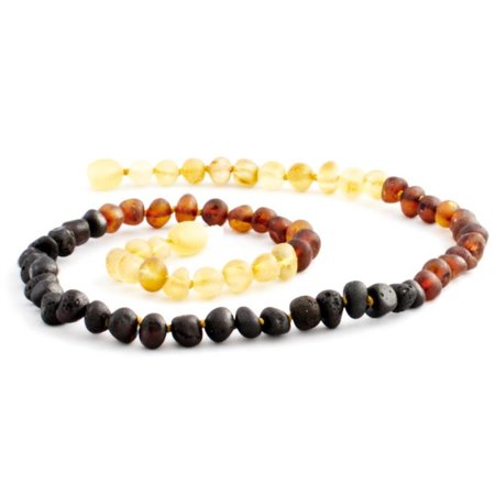 "The Amber Monkey Rainbow Baltic Amber Teething Necklace (10-11"")"