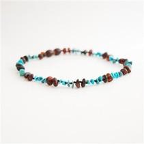 "Gemstones & Amber Bracelet and Necklace Chestnut & Turquoise 12-13"""