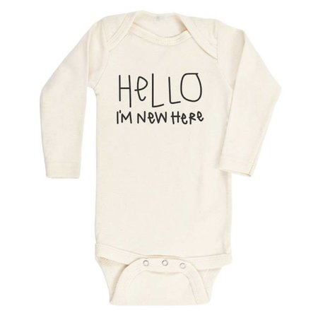 Tenth & Pine Hello I'm New Here- Long Sleeve Onesie
