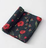 Little Unicorn Cotton Muslin Swaddle: Dark Summer Poppy by Little Unicorn