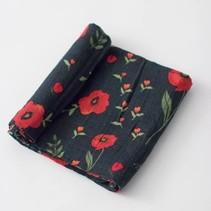 Cotton Muslin Swaddle: Dark Summer Poppy