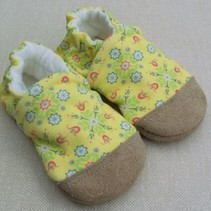 Organic Cotton Slippers Yellow Floral