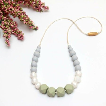 Getting Sew Crafty Silicone Teething Necklace - Glacier-Pearl-Sage
