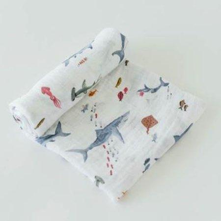 Little Unicorn Cotton Muslin Swaddle: Shark by Little Unicorn