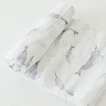 Cotton Muslin Swaddle: Narwhal