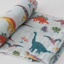 Cotton Muslin Swaddle: Embroidosaurus