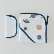 Cotton Hooded Towel & Wash Cloth: Planetary