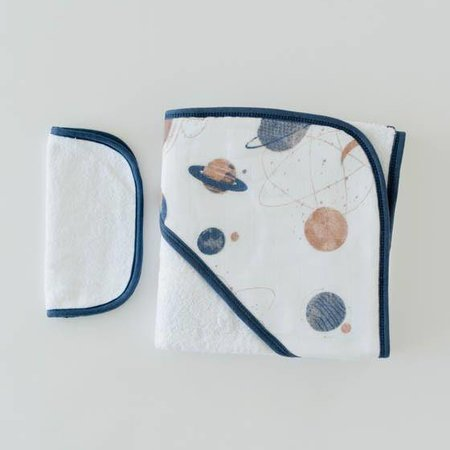 Little Unicorn Cotton Hooded Towel & Wash Cloth: Planetary by Little Unicorn