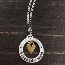 "Blessed Mom Washer w/Heart 18"" Necklace"