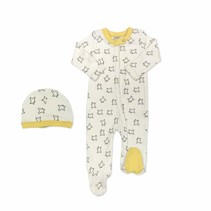 Organic Cotton Little Prince Estrellas Footie & Hat