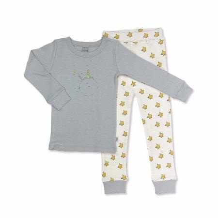Finn + Emma Organic Cotton Little Prince Gray & Yellow Stars Pajamas