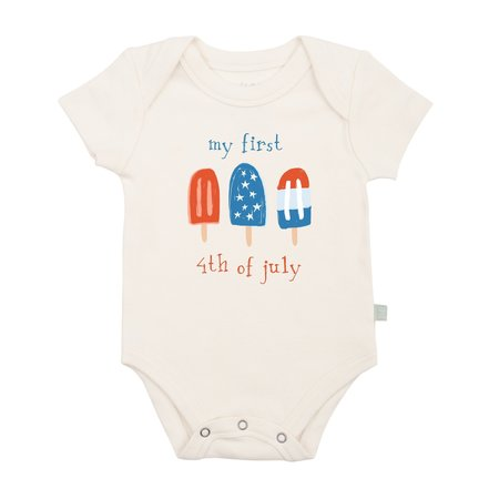 """Finn + Emma """"my first 4th of july"""" Organic Graphic Body Suit"""