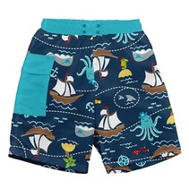 Navy Pirate Ship Pocket Trunks w/Reusable Swim Diaper
