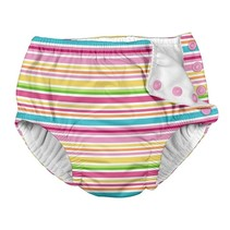 Pink Ministripe Snap Reusable Swim Diaper