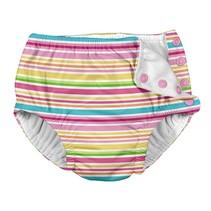 Pink Ministripe Snap Reusable Swim Diaper
