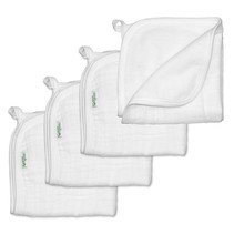Washcloths 4PK Organic Cotton Muslin White