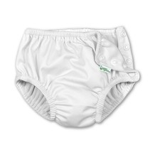 White Snap Reusable Swimsuit Diaper