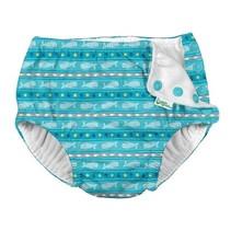 Aqua Whale Stripe Snap Reusable Swimsuit Diaper