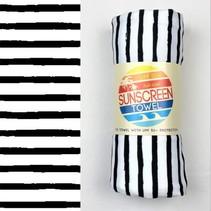 Full Size UPF 50+ Sunscreen Towel - Black Stripe