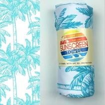 Full Size UPF 50+ Sunscreen Towel - Blue Palm Trees