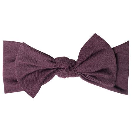 Copper Pearl Knit Headband Bow- Plum