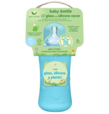 Green Sprouts 8 oz Glass Bottle with Silicone Cover- Aqua