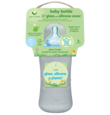 Green Sprouts 8 oz Glass Bottle with Silicone Cover- Grey