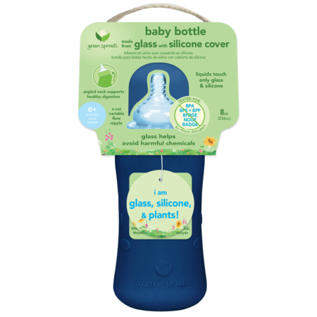 Green Sprouts 8 oz Glass Bottle with Silicone Cover- Navy