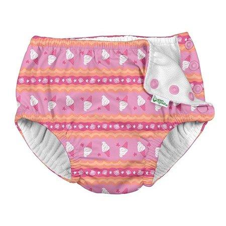 iplay Pink Ice Cream Stripe Snap Reusable Swimsuit Diaper