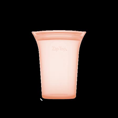 Zip Top Medium Silicone Storage Cup- Peach