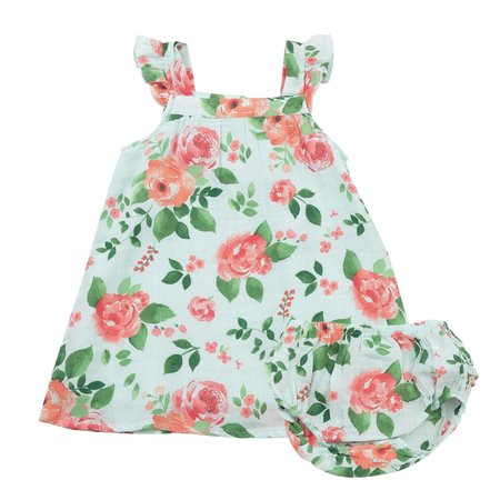 Angel Dear Angel Dear Rose Garden Muslin Dress + Diaper Cover