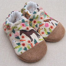 Organic Cotton Slippers Floral Horse