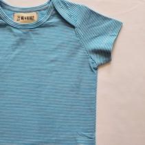 Cotton Bodysuit- Bright Blue Mini Stripe
