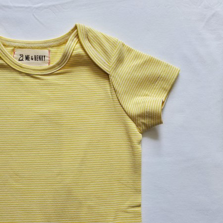 Me & Henry Cotton Bodysuit- Yellow Mini Stripe