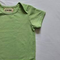Cotton Bodysuit- Green Mini Stripe