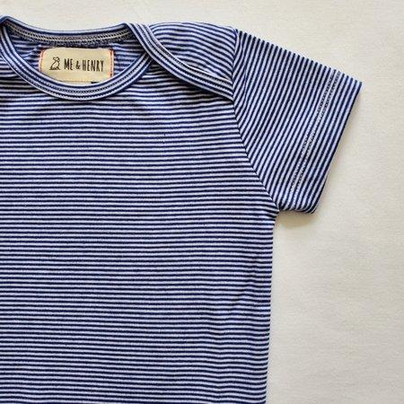 Me & Henry Cotton Bodysuit- Navy Mini Stripe