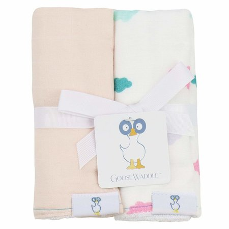 GooseWaddle Muslin & Terry Cloth Burp Cloths- Peach/Clouds