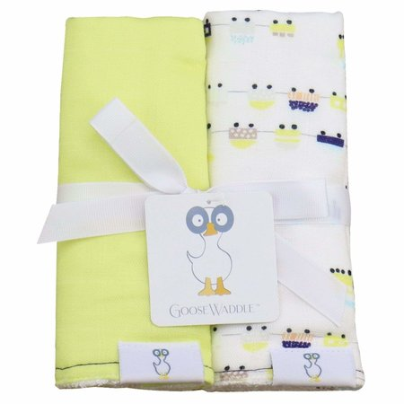 GooseWaddle Muslin & Terry Cloth Burp Cloths- Lime/ Trains