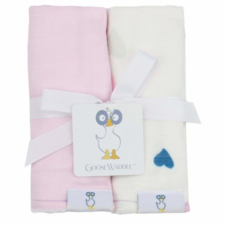 GooseWaddle Muslin & Terry Cloth Burp Cloths- Light Pink/ Hearts