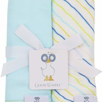 Muslin & Terry Cloth Burp Cloths- Light Blue/Stripes