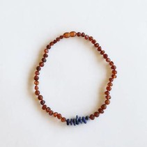 Raw Amber + Lapis Necklace- 11""